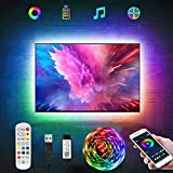 RGB LED Strip Lights Tv Led Backlight for 40-60 inch Tv Bluetooth App Control Sync to Music, USB Bias Lighting Tv Led Lights Kit with Remote - RGB 5050 LEDs Color Lights for Room Bedroom (6.5ft)