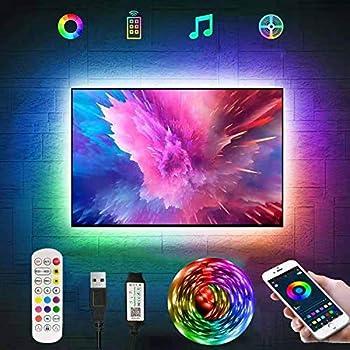 RGB LED Strip Lights,Tv Led Backlight for 40-60 inch Tv Bluetooth App Control Sync to Music USB Bias Lighting Tv Led Lights Kit with Remote - RGB 5050 LEDs Color Lights for Room Bedroom 3.3ft
