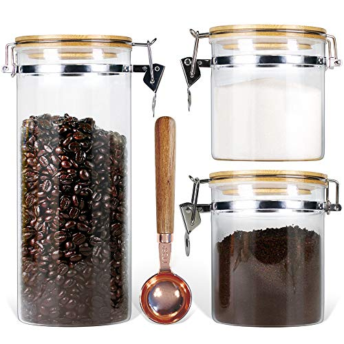 Borosilicate Glass Storage Jars with Airtight Locking Clamp Lids Urban Green, Airtight Glass Canister Set Coffee Set of 3 + Spoon (50oz, 24oz, 18oz), Glass Storage Containers with Bamboo Lid,