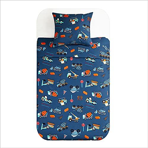 BEDSURE Bettwäsche Kinder 135x200 Set - Kinderbettwäsche Jungen 135 x 200 cm, Bettwäsche Bagger Muster mit Reißverschluss, Baustelle Babybettwäsche aus Mikrofaser mit 80x80 cm Kissenbezug