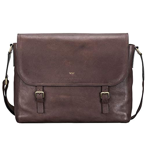 Maxwell Scott Personalised Men's Soft Grain Leather Satchel Bag - Ravenna Brown