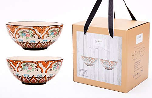 Cereal Bowls Set 2 Serving Bowl for Pasta Soup, Embossed Hand Painted Stoneware, 28 Oz Large