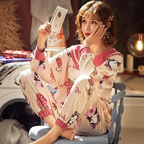STJDM Pyjama,Pyjama Sets Langarm 2XL Herbst Frauen Rüschen Peter Pan Kragen Homewear Kawaii Studenten Koreanischer Stil Elegant Loose M 7332DFL006