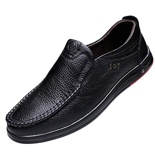 Men's Loafers Stylish Genuine Leather Casual Driving Shoes Slip on Black