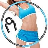 KINGFIT Hula Hoop - Hoop per la riduzione del peso, 8 parti rimovibili per regolare la larghezza del pneumatico Hula Hoop per fitness, sport, casa, ufficio, addominali, con corda per saltare