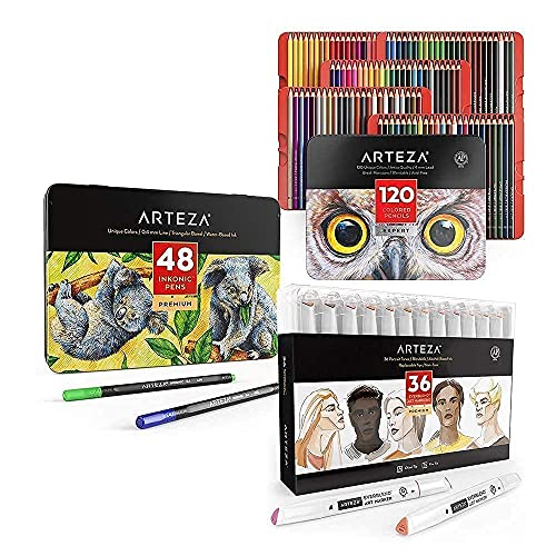 Arteza Colored Pencils, Inkonic Fineliners Pens and Skin Tone Alcohol Based Everblend Art Markers Bundle, Drawing Art Supplies for Artist, Hobby Painters & Beginners