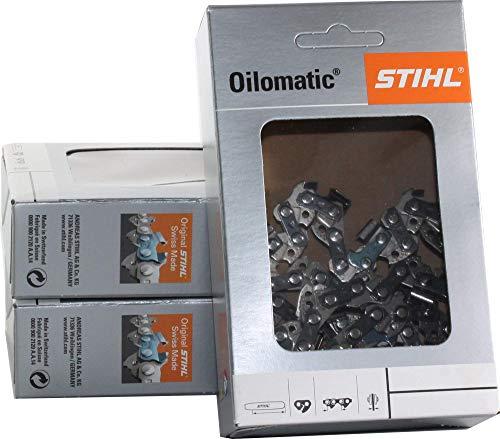 Lot de 3 chaînes de tronçonneuse Stihl Picco Micro PMM 3/8P-1,1-50 pour Stihl 023L 35 cm 3610 000 0050 (largeur rainure 1,1)