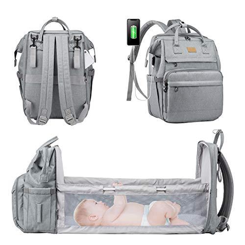 LOVEVOOK Wickeltasche Wickelrucksack mit Babybett Babytaschen mit bett Multifunktional Wickeltaschen für Unterwegs Große Kapazität Babyrucksack Wasserdicht Babytasche, Grau