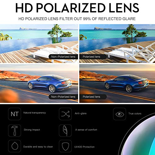 DUCO Unisex Wraparound Fitover Glasses Polarized Wear Over Sunglasses 8953