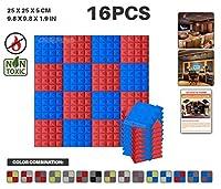 エースパンチ 新しい 16ピースセット 青と赤 250 x 250 x 50 mm ピラミッド 東京防音 ポリウレタン 吸音材 アコースティックフォーム AP1034