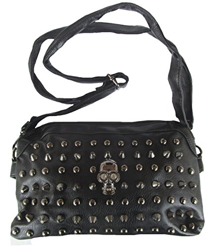 Rockabilly Punk Rock Baby Tasche Schwarz Black Skull Totenkopf Handtasche Bag
