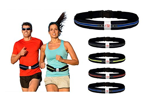 """Above Elite Deluxe Running Belt: Best Reflective, Double Pouch Fanny Waist Pack – Fits iPhone 6 Plus & All Smartphones, Water Resistant (Blue, 28""""-38"""")"""