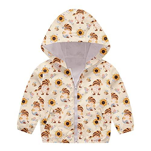 Kids Toddler Baby Windproof Jacket Zipper Hooded Coat Girls Boys Autumn Print Jacket Windproof (Yellow-1, 18-24 Months)