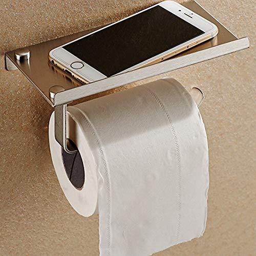 Zodensot Soporte de papel higiénico para baño, soporte de pared de acero inoxidable, soporte para teléfono de baño, cajas de pañuelos con estante de almacenamiento (como se muestra)