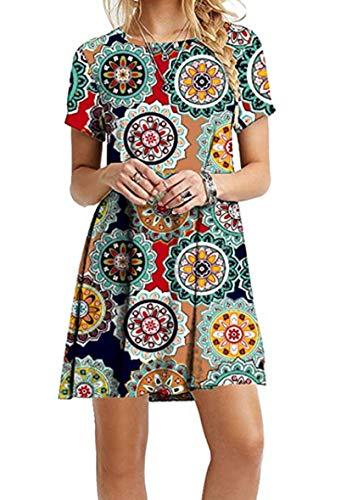 YMING Frauen Mini Sommerkleid Lose Rundhals Kleid Kurzarm Longshirt Kleid Grüner Jahresring XXXXXL/DE 50