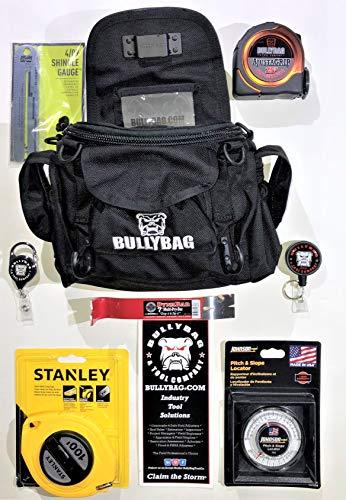 BULLYBAG 8-Pack - For Adjusters, Home Inspectors, Roof Sales, Estimators - BullyBag, Haag Shingle Gauge, Tool Managers, 25  Tape Measure, SideBar 7  Pry Bar, Pitch Gauge, Stanley 100  Tape
