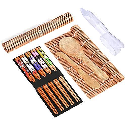 DMFSHI Herramienta de Sushi, Kit en Bambú de Sushi, El Kit para Hacer Sushi Incluye 2 Tapetes de Bambú para Enrollar Sushi, 5 Palillos, 1 Paleta de Arroz, 1 Esparcidor de Arroz, 2 Moldes para Sushi