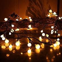 Alician LED Rattan Shape Big Small Round Ball String Lights for Christmas Patio Garden Party Xmas Tree Decor Plug Version 3 meters 300 lights warm white British regulatory
