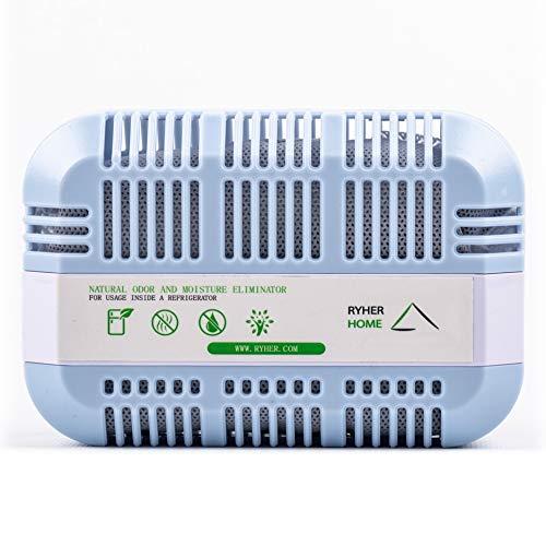 Ryher Natürliches aktivierendes Kühlschrank-Deodorant aus Bambus-Kohle - Lufterfrischer und Geruchs-Entferner für Kühlschränke, Schränke, Küchen – 2 Jahre nutzbar (XXL - 1 Stück, Grau)