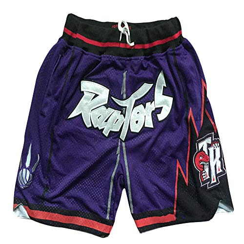 Basketball Hosen Raptors Basketball Hosen Retro Secret Embroidery Zipper Pocket Hosen Retro Embroidery Basketball Shorts Purple-M