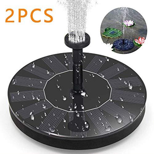 2 stuks zonne-fonteinpomp - 1.4W zonne-energie waterfontein met 4 verschillende spuitmonden, Bird Bath Sprinkler Fontein voor zwembad/vijver/Patio