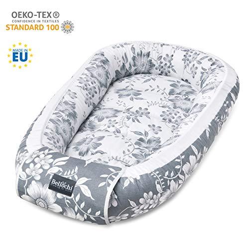 Bellochi Babynest Babynestchen Neugeborene - 100% Baumwolle Baby Kuschelnest - 90x60x12cm - Magnolia