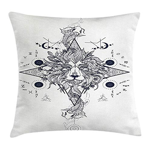FAFANIQ Lion Throw Pillow Cushion Cover, Eastern Inspired Mystical Lion Head with Symmetric Fish Ethnic Traditional Design, Decorative Square Accent Pillow Case, Dark Blue White, 18 X 18 Inches
