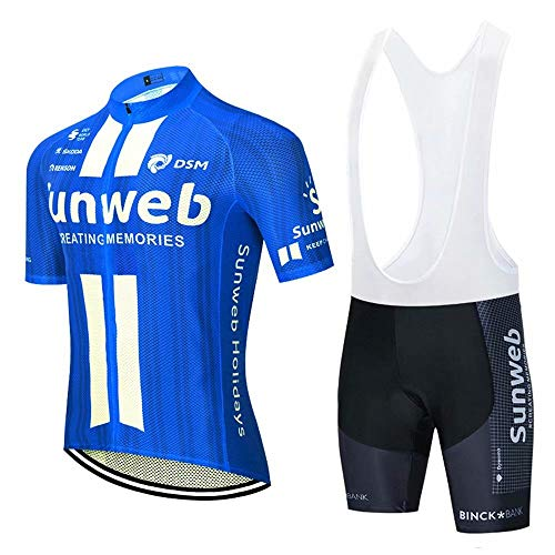 Completo Ciclismo Estivo Uomo, Magliette Ciclismo Maniche Corte + Pantaloncini Ciclismo Abbigliamento Ciclimo Professionale con 3D Gel Cuscino Traspirante per Bicicletta