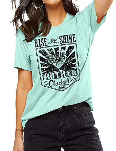 Rise and Shine Mother Chicken Shirts Women Chicken Mom T Shirts Cute Graphic Letters...