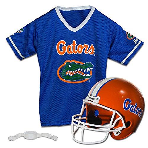 Franklin Sports Florida Gators Kids College Football Uniform Set - NCAA Youth Football Uniform Costume - Helmet, Jersey, Chinstrap Set - Youth M