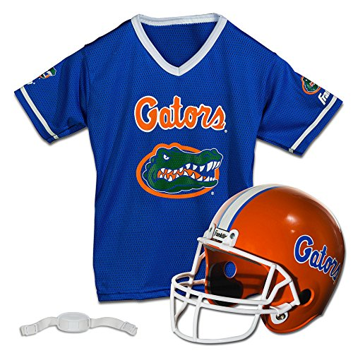 Franklin Sports Florida Gators Kids College Football Uniform Set - NCAA Youth Football Uniform Costume - Helmet, Jersey, Chinstrap Set - Youth M