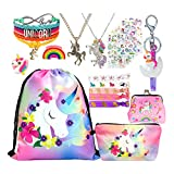 Unicorn Gifts for Girl Drawstring Backpack/Makeup Bag/Bracelet/Hair Ties/Unicorn Rubber Ring (Rainbow Unicorn)