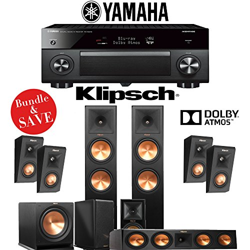 Cheap Klipsch RP-280F 5.1.4-Ch Reference Premiere Dolby Atmos Home Theater System with Yamaha AVENTA...