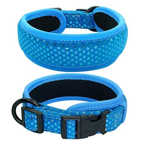 1 Pieza Collar Suave para Perros Collares Gruesos y Anchos para Mascotas Ajustables para Perros medianos Grandes Beagle Pug-Azul, S