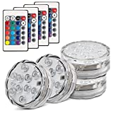 Topist Submersible LED Light, 10-LED RGB Waterproof Battery Powered Lights with IR Remote Controller for Aquarium, Vase Base, Pond, Swimming Pool, Garden, Party, Wedding, Christmas, Halloween,4 Pack