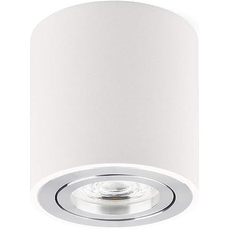 Plafonnier LED en saillie Spots de plafond orientable 230V Comprend un LED 5W GU10 interchangeable 3000K Blanc chaud Ø80x84mm Downlight LED (Blanc)