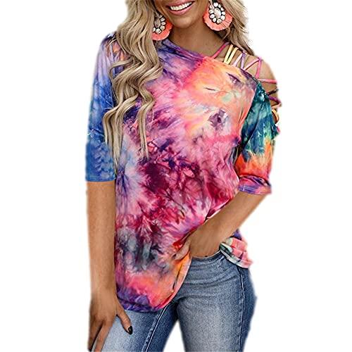 Blusa Mujer Sexy Sin Tirantes Moda Tie Dye Medias Mangas Mujer T-Shirt Vacaciones Casual Suelto Y Cómodo Moda Streetwear Verano Mujer Tops A-Multicolor XL