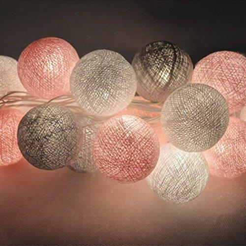 Tomasa Lichterkette Kugeln, LED Lichterkette 3m 20er Baumwollkugeln Batterie/USB/Strom-Betrieben für Party Weihnachten Hochzeit Feier Garten Terrasse Zimmerdekoration
