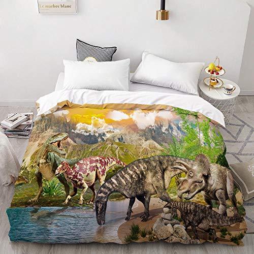 Funda de edredón LSECE 3D con impresión digital HD personalizada, funda de edredón/edredón/colcha para cama individual, 140 x 200 cm, diseño de dinosaurios de dibujos animados