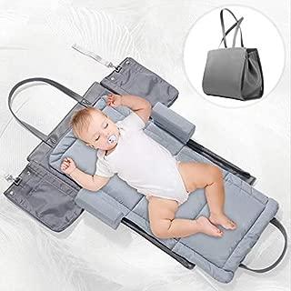 FORSTART 3 in 1 Portable Baby Travel Crib,Infant Travel Tote Bassinet Handbag Foldable Baby Bed Diaper Bag Changing Station