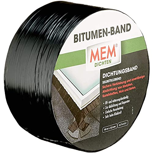 MEM Bitumen- Band schwarz - 10 m x 7,5 cm - Dichtband - Kaltselbstklebendes und ochdehnbares - Dachflächenfenster, Gewächshäuser, Regenrinnen - UV- und witterungsbeständig - 30836607 -