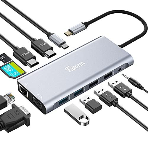 Docking Station, 12 in 1 USB C Hub, Fatorm Triple Display with Dual 4K-...