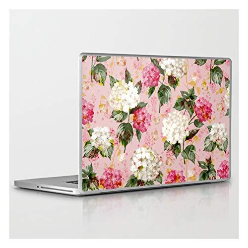 Vintage Green Pink White Bohemian Hortensia Flowers by Pink Water on Laptop & Tablet Skin - 13' Mac