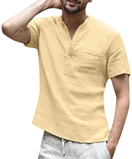 KPILP Men Cotton Linen Breathable Baggy Loose SOID Color Short Sleeve RDaily T Shirts Tops Blouse