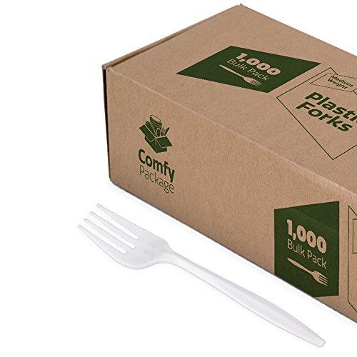 1000 Pack Plastic Forks Lightweight - White