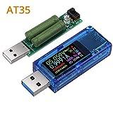 Neoteck USB 3.0 Medidor de Potencia 30V 4A Probador de Voltaje Probador de Corriente y Voltaje USB Medidor de Voltímetro Amperímetro IPS Capacidad Detector de Cargador de Energía AT35 con Carga USB