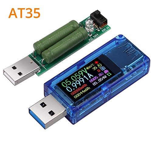 Neoteck USB 3.0 Tester Multimetro Display LCD a Colori 30V 4A Tester Misuratore di Corrente Voltmetro con Resistenza di Carico USB Tester di Tensione USB Amperometro Voltmetro Multifunzione AT35