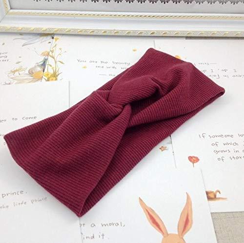 Bandas elásticas para el pelo con cruz de lana y nudos cruzados, para mujeres, turbante suave monocolor, para mujeres y niñas, color rojo vino