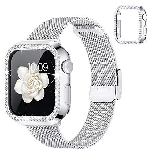 wlooo Correa para Apple Watch 38mm 40mm 42mm 44mm, Anti-Arañazos Glitter Diamante Funda & Ajustable de Malla Metal Acero Inoxidable Correa de Repuesto para iWatch Series SE/6/5/4/3/2/1 (Pl