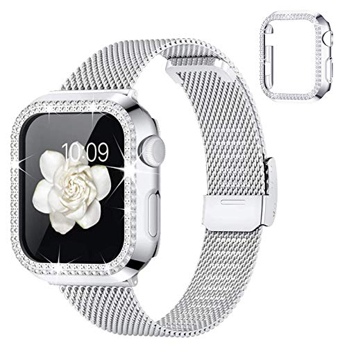 wlooo Reloj Metal Correa Compatible con Apple Watch 44mm 42mm 40mm 38mm, Glitter Diamante Funda & Ajustable de Malla Acero Inoxidable Correa de Repuesto para iWatch Series SE 6 5 4 3 2 1 (Plata, 44mm)